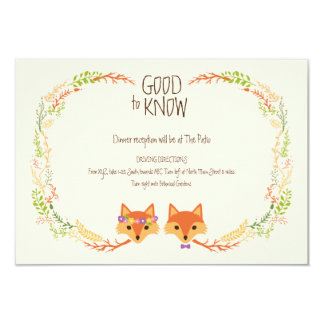 Whimsical Woodland Foxes Ivory Wedding Info Card