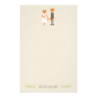 Whimsical Woodland Foxes Wedding Personalized Stationery Paper