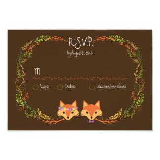 Whimsical Woodland Foxes Wedding RSVP Card