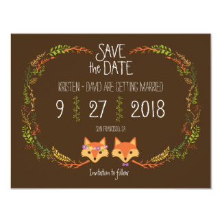 "Whimsical Woodland Foxes wedding Save the Date 4.25"" X 5.5"" Invitation Card"