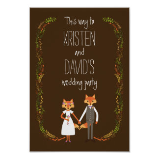Whimsical Woodland Foxes Wedding Sign Poster