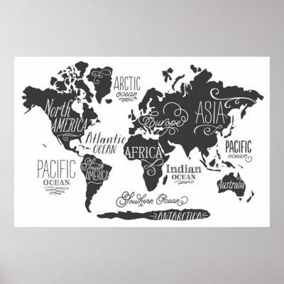 World Map Black And White Poster Zazzle Ca