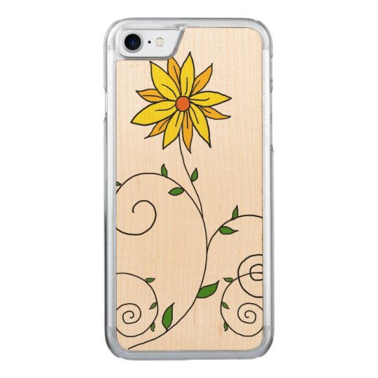 Whimsical Yellow Flower Doodle Art Carved iPhone 7 Case