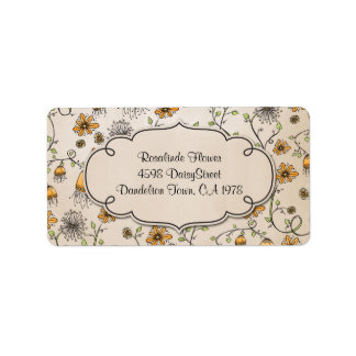 whimsical yellow flowers on pink label