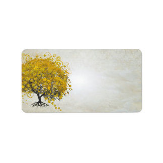 Whimsical Yellow Golden Rod Heart Leafed Tree Label