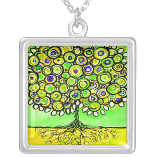 Whimsical Yellow Tree Art Pendant Necklace