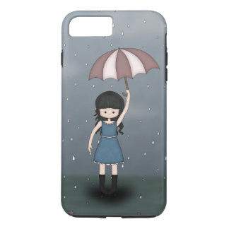Whimsical Young Girl in the Rain with Umbrella iPhone 7 Plus Case