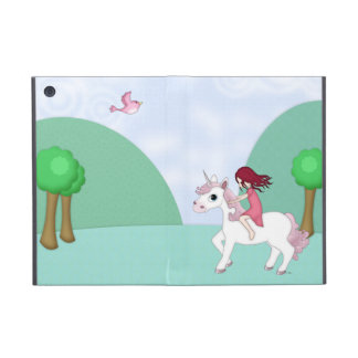 Whimsical Young Girl Riding upon a Unicorn Case For iPad Mini