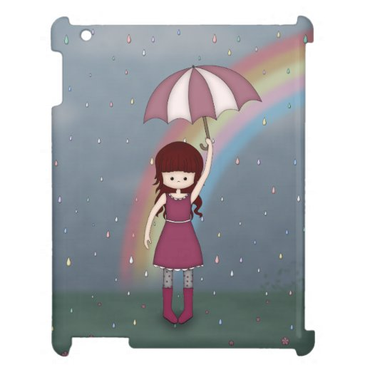 Whimsical Young Girl Standing in Colorful Rain Case For The iPad 2 3 4