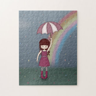 Whimsical Young Girl Standing in Colorful Rain Jigsaw Puzzle