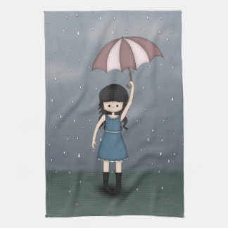 Whimsical Young Girl Standing in the Rain Hand Towels