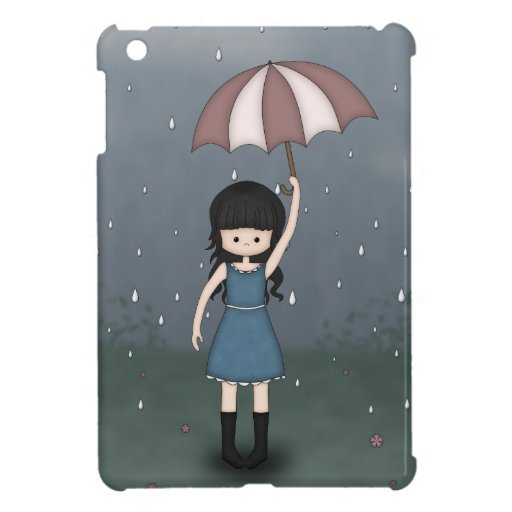 Whimsical Young Girl Standing in the Rain iPad Mini Cover