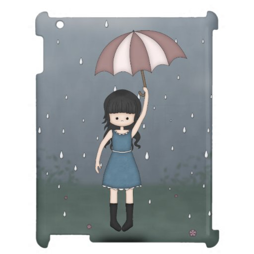 Whimsical Young Girl Standing in the Rain Case For The iPad 2 3 4