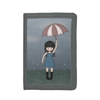 Whimsical Young Girl Standing in the Rain Trifold Wallets