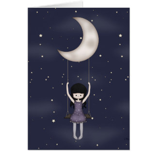Whimsical Young Girl Swinging on the Moon Card