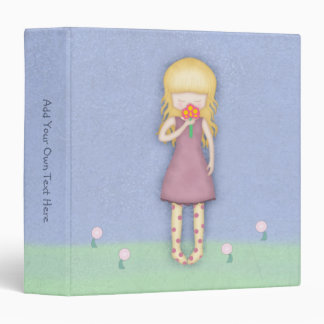 Whimsical Young Girl with Bouquet of Flowers 3 Ring Binders