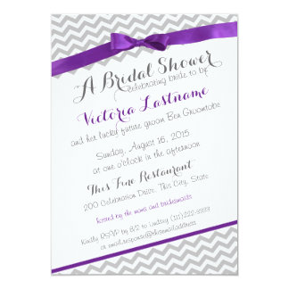 Whimsical Zigzag Purple Bridal Shower Card
