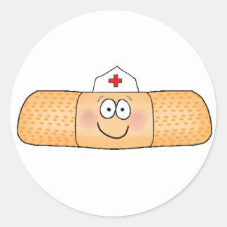 Whimsicla Band Aid Bandage with Nurse Hat Cute Classic Round Sticker