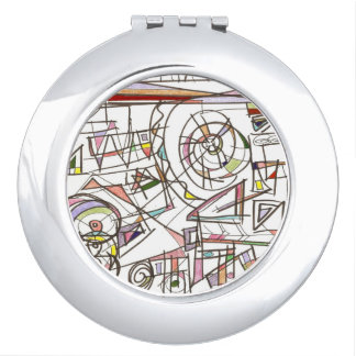 Whimsy-Abstract Art Geometric Compact Mirror