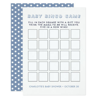 Whimsy Blue Elephant | Baby Shower Bingo Game Card
