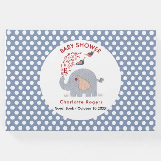 Whimsy Blue Kids Alphabet Elephant Baby Boy Shower Guest Book