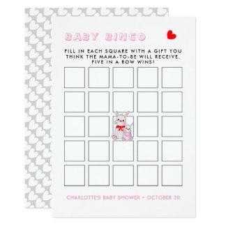 Whimsy Bunny Rabbits Baby Shower Bingo Game Card