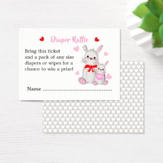 Whimsy Bunny Rabbits Baby Shower Diaper Raffle Business Card
