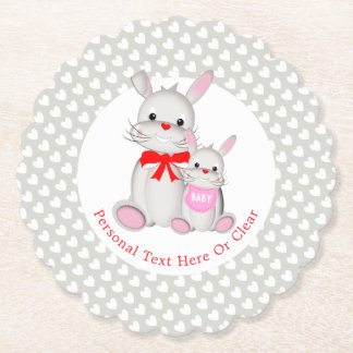 Whimsy Bunny Rabbits Baby Shower Personalized Paper Coaster
