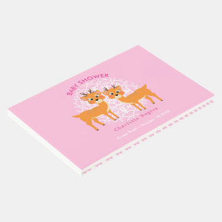 Whimsy Deer Pink Winter Xmas | Baby Shower Guest Book