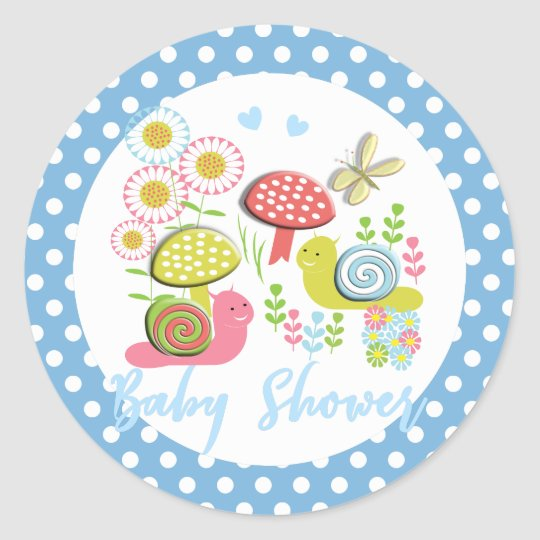 Whimsy Fairy-tale Garden Baby Shower Classic Round Sticker