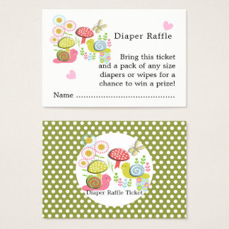Whimsy Fairy-tale Garden Baby Shower Diaper Raffle Business Card