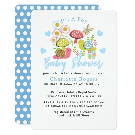 Whimsy Fairy-tale Spring Garden Baby Boy Shower Card
