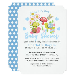 Whimsy Fairy-tale Spring Garden Baby Boy Shower Card