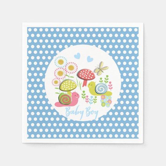 Whimsy Fairy-tale Spring Garden Baby Boy Shower Disposable Napkin