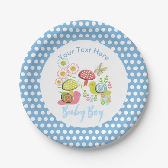 Whimsy Fairy-tale Spring Garden Baby Boy Shower Paper Plate