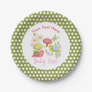 Whimsy Fairy-tale Spring Garden Baby Girl Shower Paper Plate