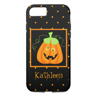 Whimsy Halloween Pumpkin Black Name Personalized iPhone 7 Case