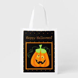 Whimsy Halloween Pumpkin on Black Reusable Grocery Bag