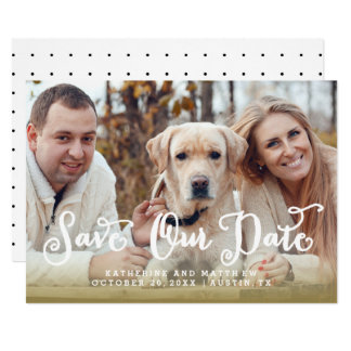 Whimsy Hand Lettered Photo Wedding Save the Date Card