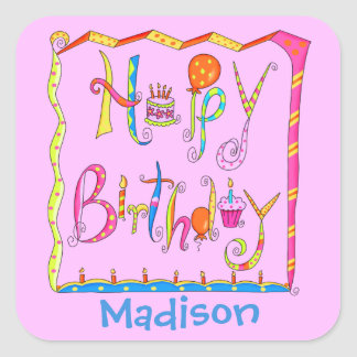 Whimsy Happy Birthday Name Personalized Pink Square Sticker