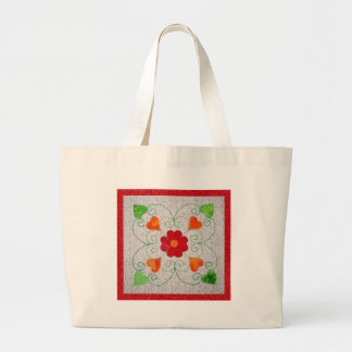 Whimsy Hearts Quilt - Block #2 Large Tote Bag