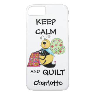 Whimsy Keep Calm and Quilt Bee Name Personalized iPhone 7 Case