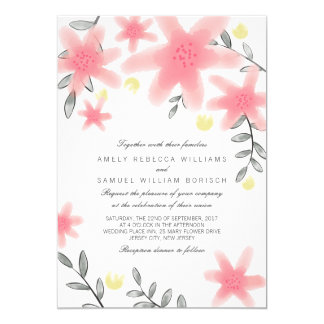 Whimsy Pretty Pink Floral Wedding Invitation