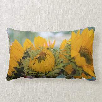 Whimsy Rustic Sunflower Floral Garden Lumbar Pillow