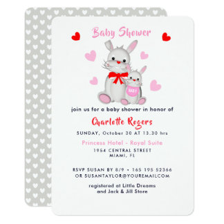 Whimsy Super Cute Bunny Rabbits Baby Shower Invite
