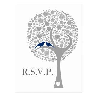 whimsy tree navy blue lovebirds mod wedding rsvp postcard