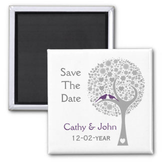 whimsy tree purple lovebirds mod save the date magnet