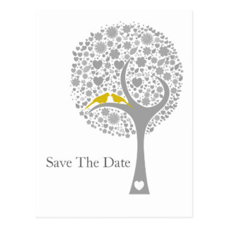 whimsy tree yellow lovebirds mod save the date postcard