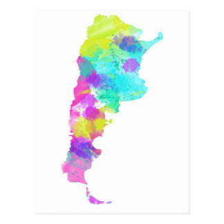 Whimsy Watercolor Argentina Map Postcard
