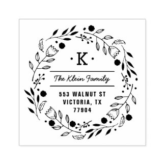 Whimsy Wreath Monogram Address Stamp